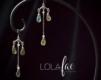 Faceted labradorite earrings - chandelier dangle earrings with three faceted blue flash labradorite drops & sterling silver chain by Lolafae