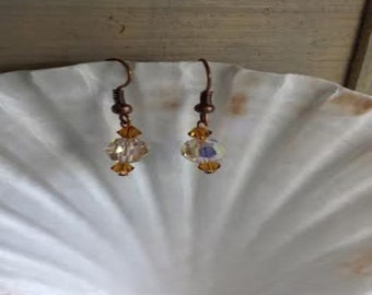 Copper and crystal earrings (ER038)