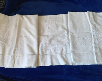 Amazingly Exceptional Fine Antique French Linen Sheet with Ornate and Rich Embroidery for Double or King Bed