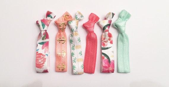 Summer foral & pineapple hair tie set//elastic hair ties//hair tie set