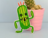 Funny Green Dancing Cactus with Mustache Iron-on Patch, Embroidered, Applique featured image