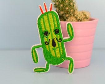 Funny Green Dancing Cactus with Mustache Iron-on Patch, Embroidered, Applique