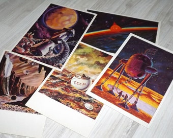 Science fiction art post card set - Russian vintage postcards - Vintage astronomy postcard set - Sci fi painting cards - Space art postcards