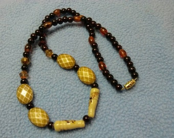 Interesting Bead Necklace, Artglass and Lucite