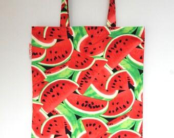 Watermelon Tote bag, market bag, Summer fabric bag, Cotton shopping bag, reusable bag, shopper, Book bag, Cotton tote,