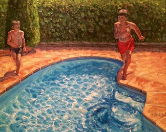 Boys playing, oil painting reproduction