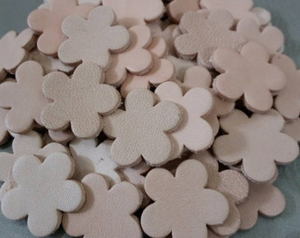 Leather Flowers, 50 cps., 4 sizes 16mm.20mm. 25mm. 30mm. wide, Natural, Leather Flowers Die Cut, Vegetable Tanned Leather, DIY Projects.