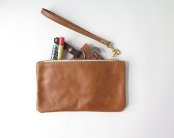 Brown Leather Clutch // Monogrammed Leather Pouch // Leather Makeup Bag