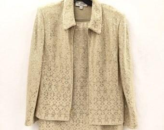 Vintage St. John Knitted Metallic Suit