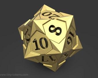 Steel D20 Gaming Die - 'Starry' Metal Balanced dice