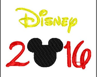 Mickey Mouse Disney Vacation 2016 Embroidery Design