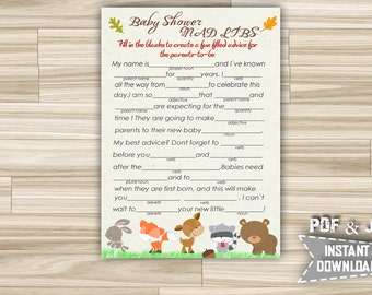 Baby Shower Mad Libs Woodland, Advice Parents Cards - Printable Mad Libs with Forest animals for baby shower - Instant Download - w1