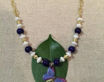 Blue Butterfly pendant necklace