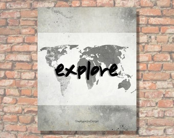 Explore Canvas Wall Decor - Gray/White/Black - Travel Decor