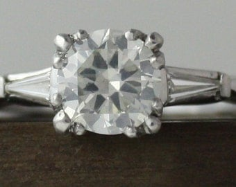 Vintage 1.18 carat Old European Diamond Platinum Engagement ring. Circa 1950.