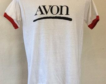 Vtg 80s Avon Cosmetics Ringer T-Shirt White M Hanes 50/50