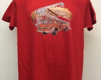 Vtg 70s 80s Firefighter Fire Truck Iron-On T-Shirt Red L Thin 50/50 Stedman