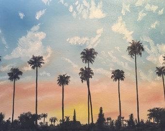 LA sunset - original oil painting