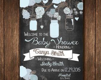 Mason Jar Chalkboard Baby Shower Sign for Baby Boy - Custom Digital Copy