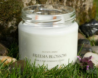 Eco Soy Candle Freesia Blossom Candle 2 Wood Wick Extra Large 380ml Candle Tuur & Mor