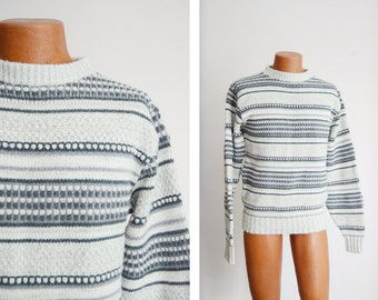 "1980s Grey Striped Sweater - 40"" Chest"