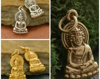 Buddha Charm, Buddha Necklace, Buddha Statue, Buddha Pendant, Gold Buddha, Buddha Jewelry, Yoga Jewelry, Yoga Charms,  Buddhist Jewelry