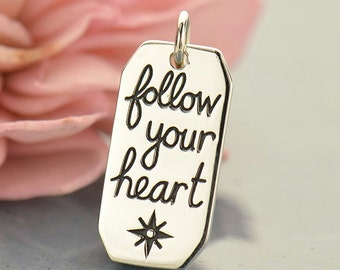 Sterling Silver Follow Your Heart Compass Charm