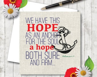 We Have This Hope - JW Encouragement Card. NWT Heb 6:19