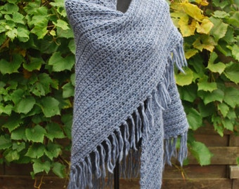 Royale blue knit wrap scarf with fringe