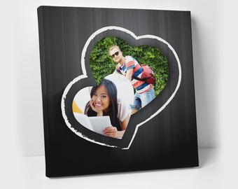 Black Hearts Valentine's Day photo canvas - Personalized couples print - Personalized Wedding Anniversary Gift - gift for valentines