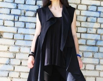 Loose Black Vest / Asymmetric Vest / Extravagant Tunic / Sleeveless coat by Fraktura V0005