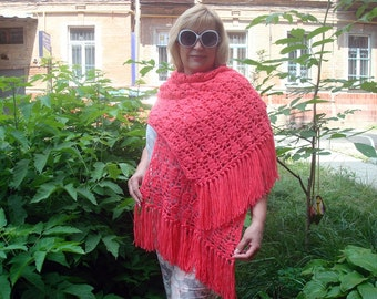 Knitted Pink scarf Ready to ship Hand knit  Shawl Handmade Openwork pattern
