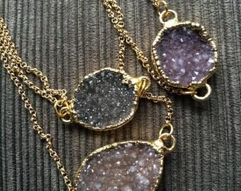 Large Grey Purple Unique Gold Plated Druzy Stone Pendant Necklace