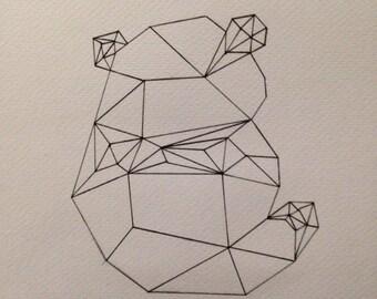 Original A5 Geometric Panda Art Design