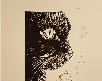 Black Cat  - Linoleum Original hand pulled Relief Print - USA Free Shipping