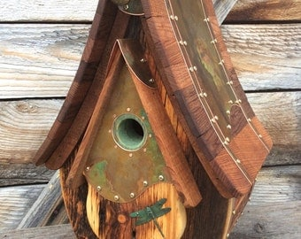 Unique Birdhouse Barnwood Teardrop Recycled Handmade Wedding Gift  #1735