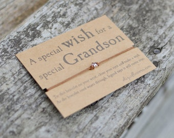 Grandson Wish Bracelet, Make a Wish Bracelet, Gift For Grandson, Cord Bracelet and Gift Card.