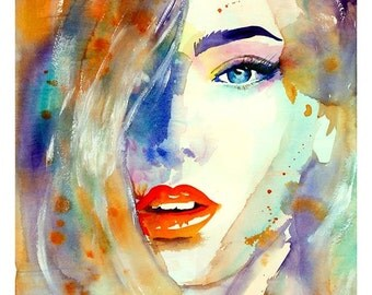 Fashion Print made from Original Watercolour Painting. Colourful Watercolour Fashion. Beautiful Face