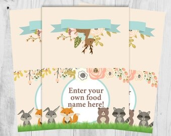 Editable Text, Woodland Food Tent Labels, Baby Shower, Wedding, Birthday Party.