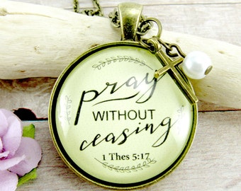 Pray Without Ceasing Prayer Necklace Because Miracles Happen When We Pray Continually, Never Give Up Encouragement Gift