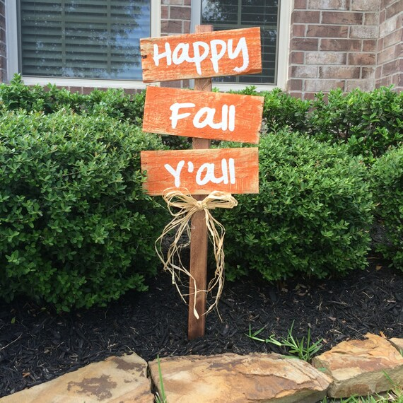 Autumn Yard Decorations: Items Similar To Happy Fall Y'all Yard Signs, Fall Decor