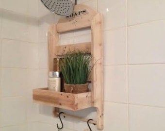 Shower Caddy , Made to Order , Recycled Pallet Wood , Rustic Style Shower Storage