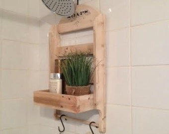 Shower Caddy/Made to Order/Recycled Pallet Wood/Rustic Style Shower Storage/Old World Writing/Natural Wood Shower Rack Caddy