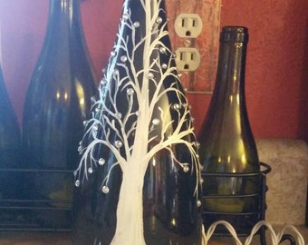 Hand-painted lighted wine bottle
