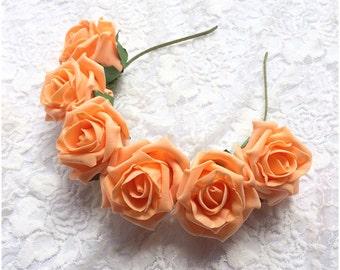 Peach Dream Flower Crown | Orange Headband