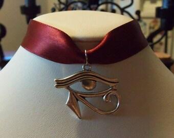 Eye of Horus ribbon choker