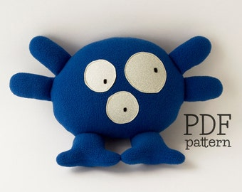 Monster plushie pattern, stuffed animal sewing pattern, baby toy pattern, easy toy PDF, easy plushie tutorial, soft toy pattern