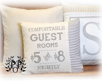 Guest Room,Vintage Style, Home Decor, Throw Pillow, Ticking, Drop Cloth, Pillow Cover