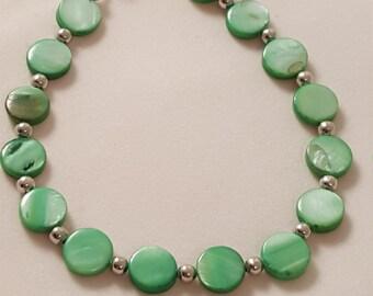 Green Glass Beads - Flat Round Beaded Bracelet - Women's Bracelet - Green Bracelet - Round Green Bracelet - Women's Green Bracelet - Silver