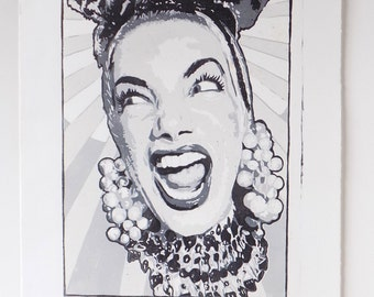 Carmen Miranda 4 color woodblock print